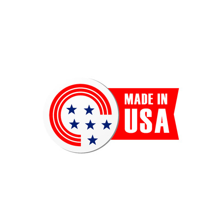 Made in USA quality product tag or label with American US flag stars and stripes. Vector Made in US premium warranty tag design with red ribbon for best production or industrial company