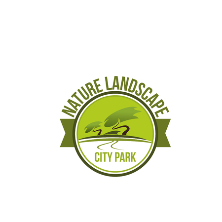 City park nature landscape badge for landscaping studio and ecology gardening service design. Public garden round emblem with green tree and ribbon banner for horticulture and landscape design