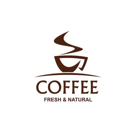 Signe de vecteur de café frais et naturel. Symbole créatif de tasse de café, badge pour café ou café. Emblème pour le menu des boissons au restaurant. Concept de café americano ou expresso
