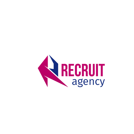 Vector icon for recruit agency isolated on white background. Abstract modern vector sign for recruitment agency. Concept of employment and search for people, recruiting staff for business Illustration