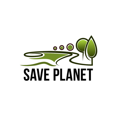 Save Planet icon of green trees for global earth environmental pollution protection on world green environment event. Vector symbol for nature and planet ecology conservation Stock Vector - 114520192