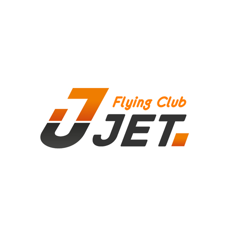 Jet flying club vector icon. Airplane sign for aviation club branding. Symbol of aircraft and aviator, avia transport. Concept of aviation enthusiasm and sky transportation Illustration