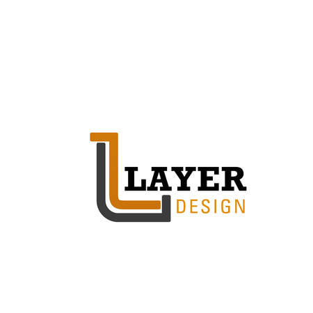 Design studio or printing house L letter icon for Layer advertising agency. Vector letter D symbol for designer creative studio or printing production and architecture interior designer company