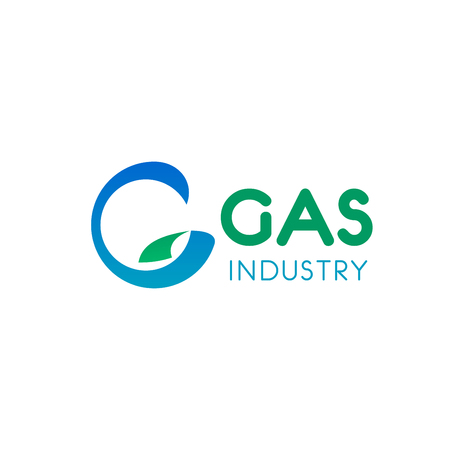 Oil and gas industry vector design. Colorful oil and gas creative sign. Badge for gas company isolated on white background. Concept of fuel and energy industry. Emblem with liquid fuel 向量圖像