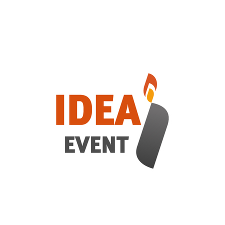 I letter icon for Idea event or entertainment agency. Vector letter I in lighter shape with fire flame symbol template for creative advertising or event company in trendy modern orange and gray color
