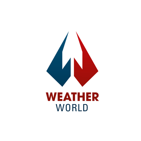 Weather world W letter icon for weather forecast service or smartphone application app symbol. Vector isolated letter W in red and blue poles with arrow for weather forecast meteorology
