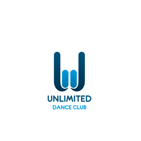 J letter icon for dance sport club. Vector letter W wave line shape symbol template for sports dancing of fitness aerobic dances and shaping sport studio in trendy modern blue color