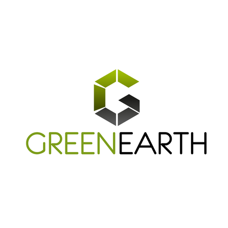 Green Earth symbol for ecology and environment protection themes design. Modern font of alphabet letter G, composed of rectangle for eco business corporate identity template