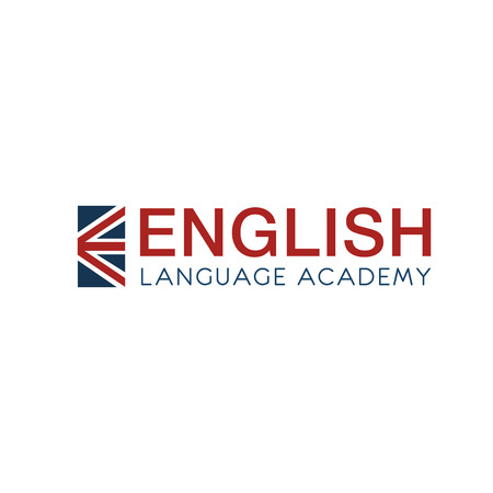 English language academy vector icon. English as a second language concept. Fluent speaking in English courses. Badge for classes of English language, isolated on white background Illustration