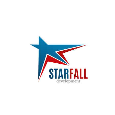 Abstract icon Starfall development for any business. Vector sign for internet and digital development company. Colorful badge with red and blue stars isolated on white background