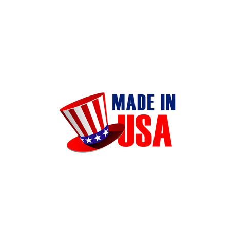 Made in USA vector sign with hat in colors of United States flag. Traditional colors and symbols of American flag in red and blue colors with stars. Vector sign for products made in USA