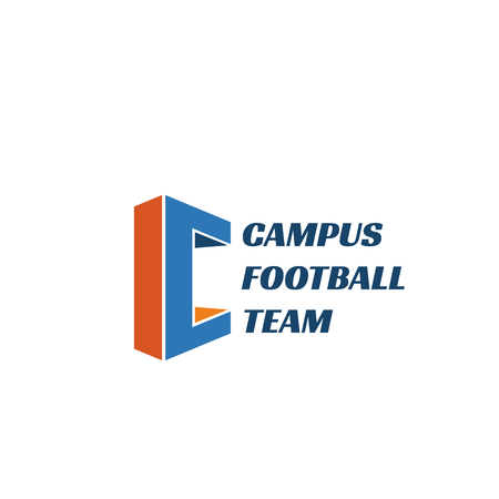 Campus football team vector sign. Sportive design, soccer team emblem. Modern sport sign in blue and orange colors. Football vector emblem for sports school. Concept of soccer and football game