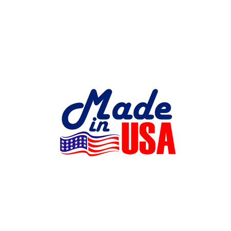 Made in USA vector icon isolated on a white background. Creative badge in colors of United States flag. Emblem with flag of USA in red and blue colors with stars. Vector sign for products made in USA Ilustrace