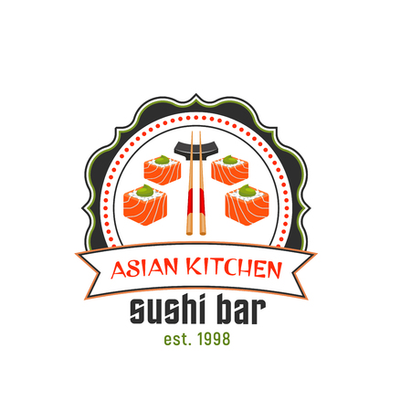 Sushi bar icon of asian cuisine restaurant. Japanese sushi roll with salmon fish, rice and wasabi sauce, served with chopstick round badge with ribbon banner for food packaging design Illustration