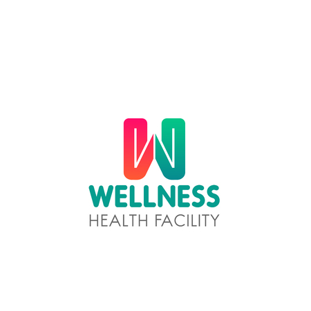 Wellness health facility sign. Creative vector emblem for fitness center or wellness spa salon. Healthy lifestyle and beauty concept. Abstract sign for wellness club or gym Stok Fotoğraf - 114520343