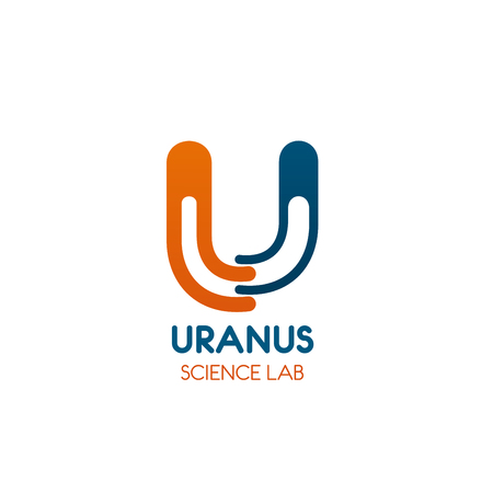 Science icon for research laboratory business identity template. Orange and blue abstract symbol of alphabet letter U for chemistry and medicine company emblem or education themes design