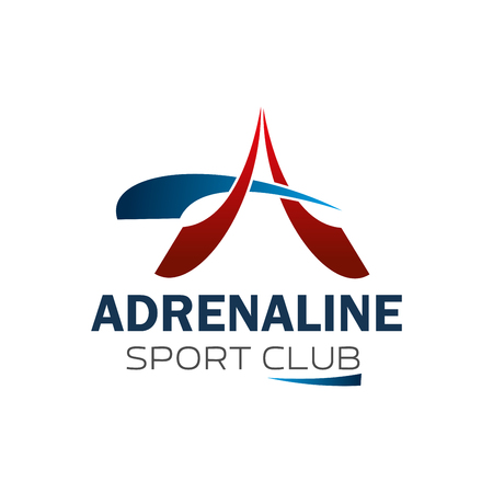 Sport club or gym and fitness center icon of letter A. Vector isolated red and blue letter A for adrenaline power symbol of bodybuilding gym or weightlifting sport club design template