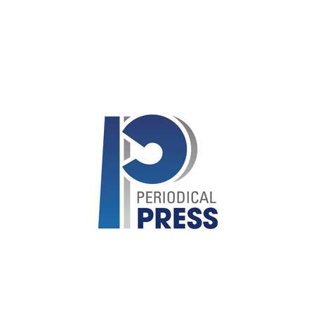 Periodical press vector icon. Emblem in blue and gray colors for newspaper or internet media. Concept of press and information. Creative badge for periodical journal or any correspondence