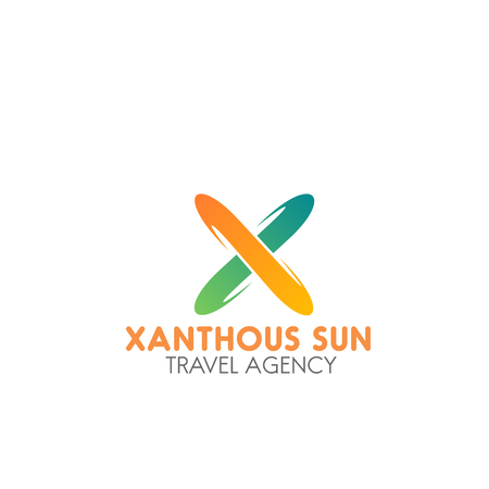 Xanthous sun travel agency vector sign. Creative colorful emblem for tourism business or travel company. Abstract badge isolated on white background. Concept of vacation and holiday  イラスト・ベクター素材