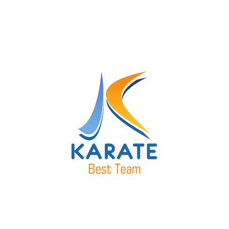 K letter icon for karate sport club or team badge. Vector isolated letter K in Japanese calligraphic style for oriental or Chinese martial art school of fight sport karate classes