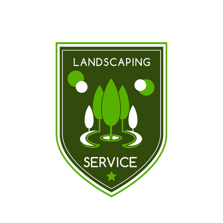 Landscaping design service icon of green trees in park for green landscape designing company. or horticulture eco association. Vector badge of green trees at parkland and premium stars Çizim