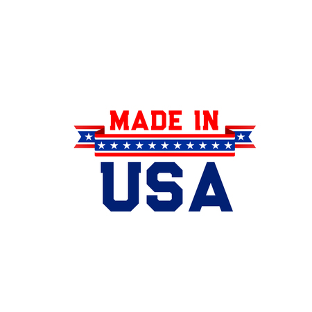 Made in USA vector badge isolated on a white background. Creative emblem for branding of products manufactured in USA. Sign in red and blue colors with stars as symbol of America export
