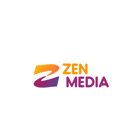 Zen Media vector badge in orange and magenta colors. Vector sign for yoga club or health care company. Human body development concept creative badge isolated on white background. Healthy and fitness vector design