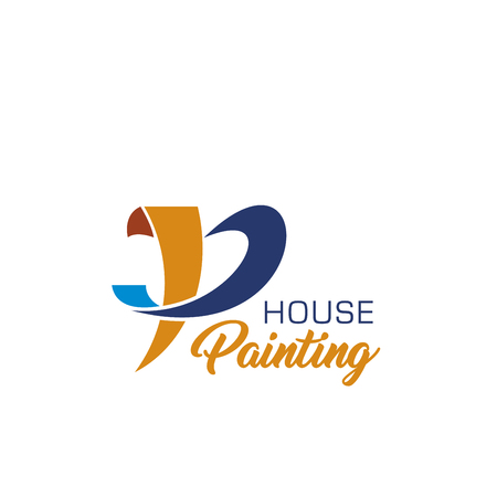 House painting icon of home repair service business card template. Construction, interior design or architecture company corporate identity font of letter P with orange and blue line for emblem design