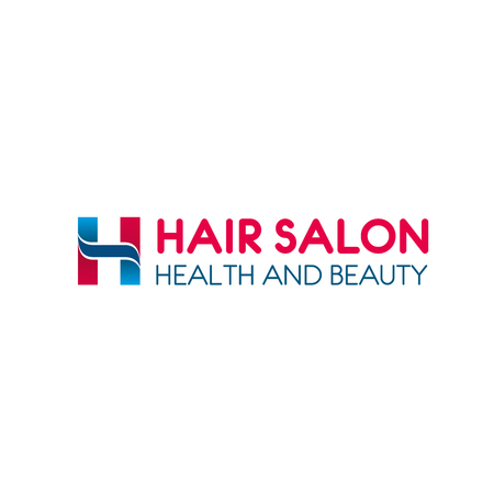 Hairdresser salon icon of H letter for women beauty hair styling. Vector letter H in pink and blue for woman fashion styling studio or hair health and beauty treatment