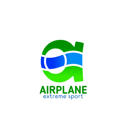 Airplane extreme sport club A letter icon for aero adventure pilots team badge. Vector isolated symbol of letter A for aviation and air adventure travel or pilots extreme sports  イラスト・ベクター素材