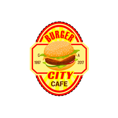Fast food burger icon for fastfood restaurant. Vector isolated symbol of hamburger or cheeseburger sandwich with mayonnaise and ketchup for street food cafe or cinema bar bistro, delivery and takeaway Ilustração