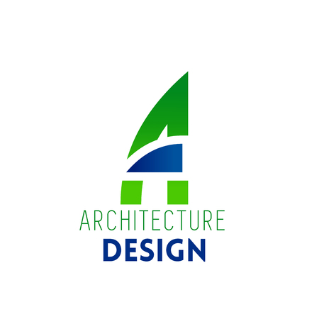 Architecture design icon of A letter for interior or house construction company. Vector isolated letter A in geometric shape shape for architect designing service in modern trendy colors
