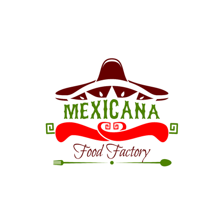 Mexican cuisine icon for restaurant or traditional food cafe. Symbol of sombrero hat and fork and spoon vector design. Emblem for mexican food menu, isolated on white background