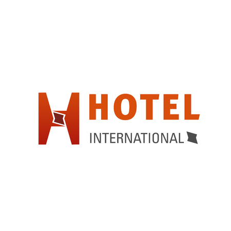International hotel vector sign. Orange color badge for identity hotel and resort business company. Modern design symbol of hotel or hostel or motel, isolated on white background