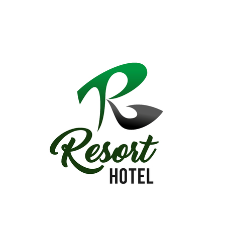Resort hotel business card template with black and green R capital letter. Corporate identity abstract emblem for travel agency, spa resort, hotel service and vacation tourism design