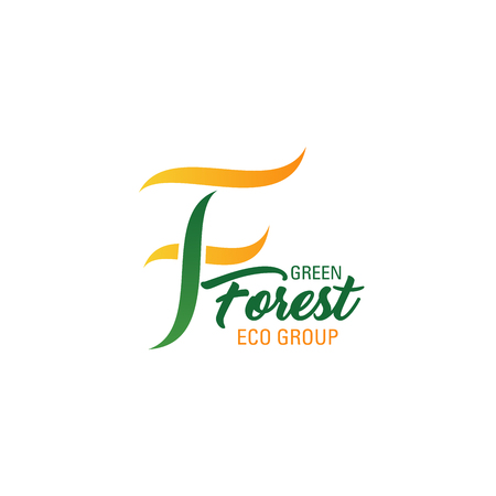 Green forest eco group icon of letter F for environment protection and ecology conservation organization. Vector isolated letter F of tree plant or leaf fro earth ecology save association Ilustração