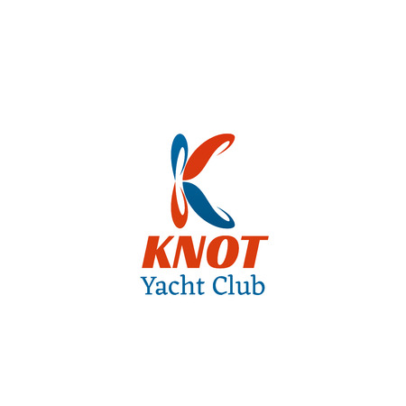 Knot Yacht club vector icon in red and blue colors. Concept of yachting and sea tourism, creative badge isolated on white background. Yachting and regatta symbol, vector yacht club vector design. Иллюстрация
