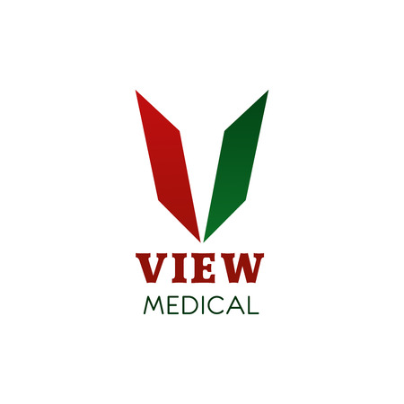 Medical V letter icon for healthcare or pharmaceutical medicine industry. Vector isolated letter V for pharmacy or health medical research and innovation medicine laboratory center