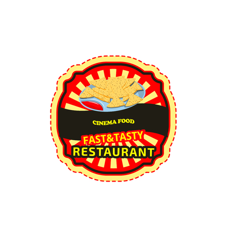 Cinema fast food bar icon for finger food snack menu. Vector isolated sign of Mexican nachos or potato chips and sauce for fastfood restaurant, bistro or delivery and takeaway