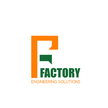 Engineering factory F letter icon for engineer and construction company. Vector letter F symbol for building technology or industrial innovation or engineering industry corporation