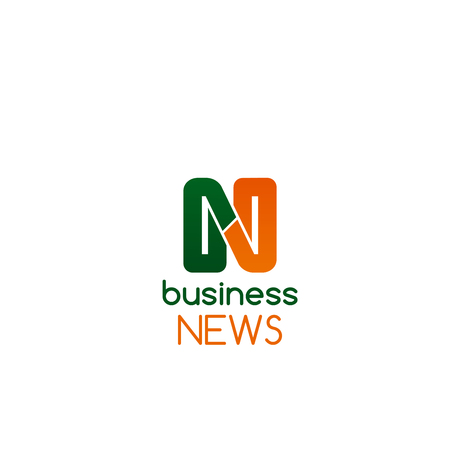 Business news vector icon isolated on a white background. News symbol or icon in green and orange colors. Creative badge for magazine or newspaper, concept of journalism