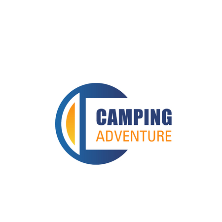 Camping outdoor adventure letter C icon for mountain hiking sport or extreme nature explorer team club. Vector isolated letter C badge for Alpine mountain rock tour and campfire trips