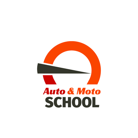 Auto Moto school vector sign. Creative emblem for driving school. Driving car school vector emblem. Abstract badge in red and gray colors, concept of car, speed and driving