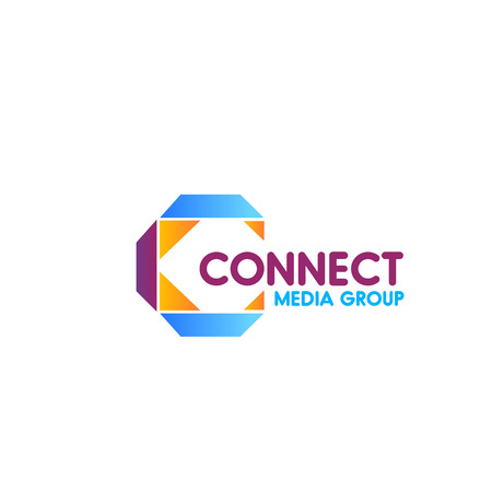 Connect Media group colorful vector icon isolated on white background. Creative design for public relations or social media business. Concept of partnership and network, emblem for media community