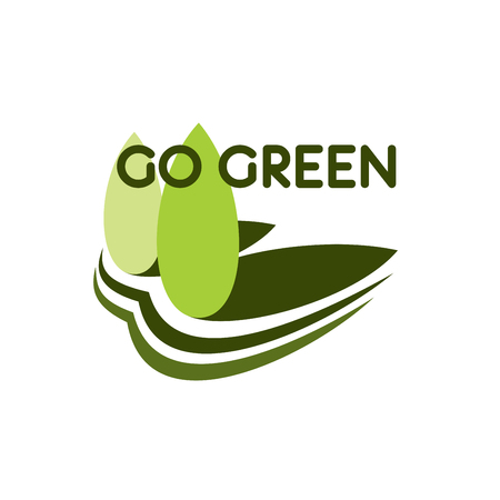 Go green ecology conservation icon of greet trees in park or forest for nature environment protection, Vector natural park or forest trees symbol for planet or earth ecology social project concept Illusztráció