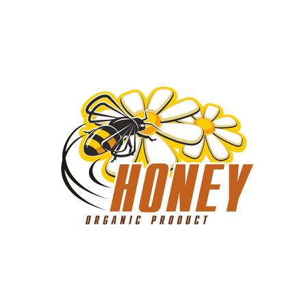 Honey organic food icon with bee and flower. Honey bee flying around chamomile flower isolated symbol for natural honey and beekeeping farm product packaging label design Illustration