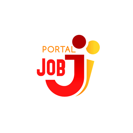 Job portal icon of J letter for recruiting agency sign or web site design. Vector isolated letter J in people shape for professional job recruitment and human resources market