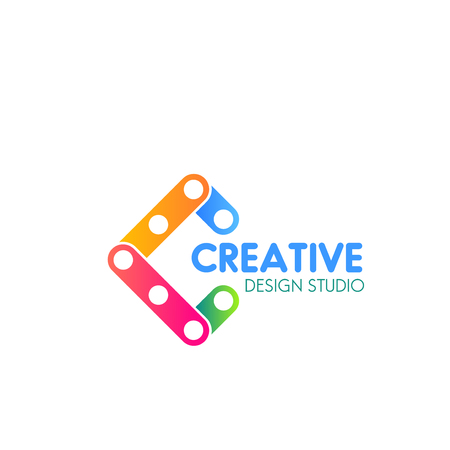 Creative design studio vector sign isolated on a white background. Concept of new idea, modern technologies and developing. Vector design branding for corporate identity of creative company