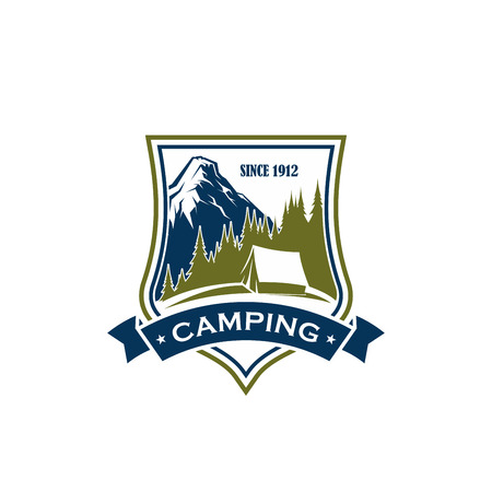 Summer camping vector sign. Concept of recreation outdoor, nature and forest. Tourism in mountains camping emblem. Outdoor activity symbol with mountain landscape, isolated on white background Ilustrace