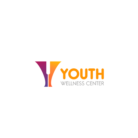 Youth wellness center vector sign. Colorful vector emblem for spa salon or fitness center. Concept of positive and healthy lifestyle. Abstract badge for wellness isolated on white background Stok Fotoğraf - 114475855